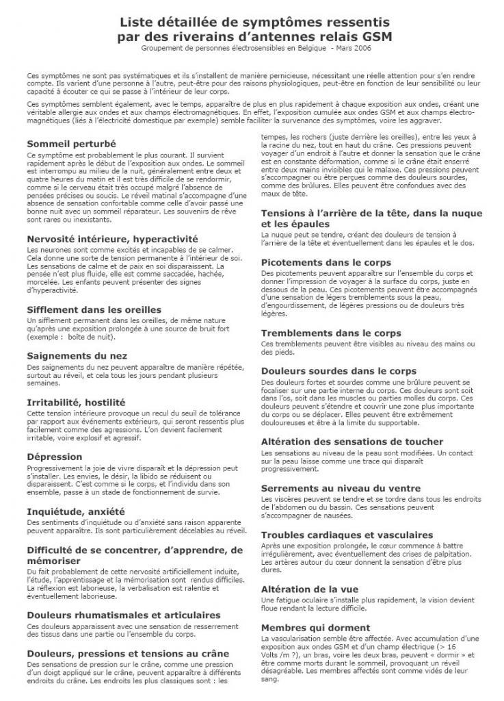 Liste detaillee symptomes riverains antennes relais belgique mars 2006